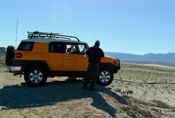 A Trail Teams driver contemplates a steep descent at Borrego Springs, California. Photo courtesy of David Lee