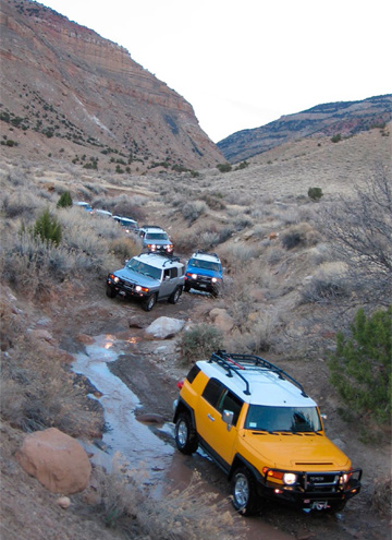 FJ Cruisers in action during the inaugural Trail Teams training in Colorado. Photo by Paul Williamsen