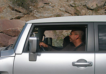 Kevin Fukuchi (the second FJ planner) and the author out with the Toyota teams near Borrego Springs, California. Photo by Bruce Hunt