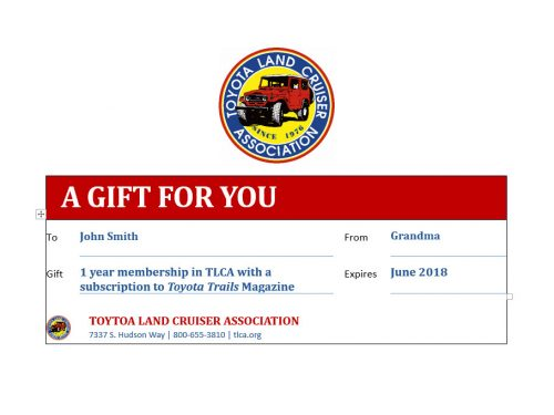 TLCA Gift Mmebership