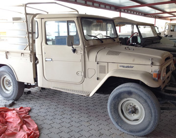Two FJ45s amidst a f leet of old Land Rovers and vintage Jeeps.
