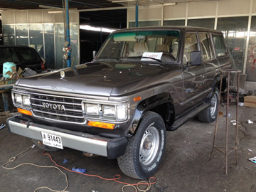 The freshly restored FJ62 being prepared for jet fuel racing.